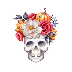 watercolor floral skull, Halloween illustration, autumn flowers, fall, pumpkin, clip art isolated on white background