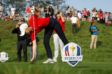 Signs with the logo of the 2018 Ryder Cup are seen during an event at France's Golf National where the Ryder Cup 2018 tournament will be held at Saint-Quentin-en-Yvelines