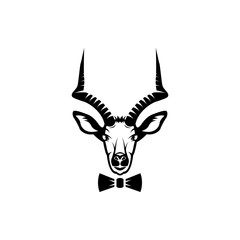 Vector antelope head, face  for retro hipster logos, emblems, badges, labels template and t-shirt vintage design element. Isolated on white background