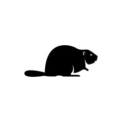 Vector beaver silhouette view side for retro logos, emblems, badges, labels template vintage design element. Isolated on white background