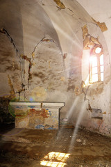 sun rays in abandoned gothic church