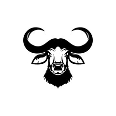Vector african buffalo head, face  for retro hipster logos, emblems, badges, labels template and t-shirt vintage design element. Isolated on white background