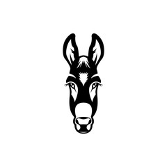 Vector donkey head, face  for retro hipster logos, emblems, badges, labels template and t-shirt vintage design element. Isolated on white background