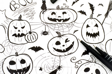 Halloween concept. Markers hand drawing with two pens.