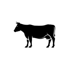 Vector cow silhouette view side for retro logos, emblems, badges, labels template vintage design element. Isolated on white background