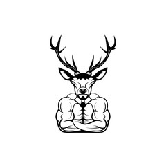 Vector fitness body with deer head, face  for retro logos, emblems, badges, labels template and t-shirt vintage design element. Isolated on white background