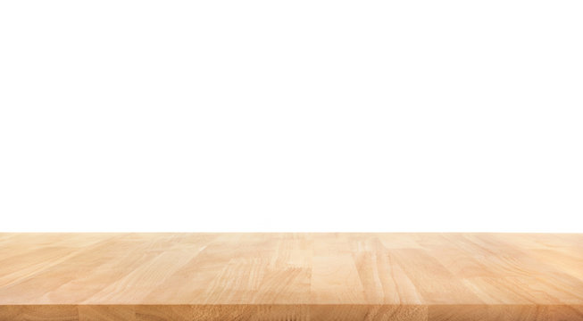 Real wood table top texture on white background.For create product display or key visual layout