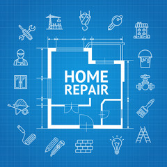 Home Repair Concept witch Building Construction Outline Icons. Vector