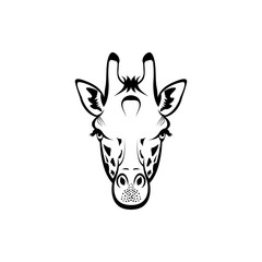 Vector giraffe head, face  for retro hipster logos, emblems, badges, labels template and t-shirt vintage design element. Isolated on white background
