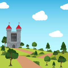 Scene with castle tower in the field illustration