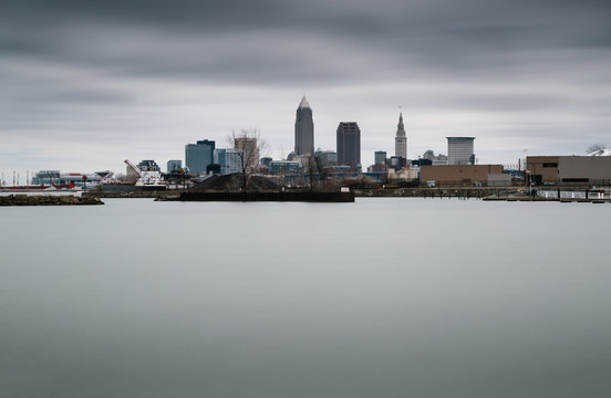 Cleveland city skyline in winter