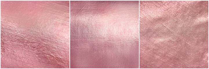 Set rose gold metal texture. Luxure elegant soft foil background.