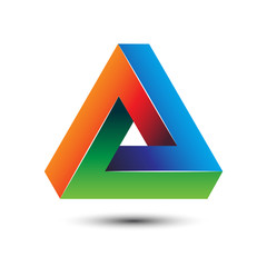 Colorful delta letter 3D impossible sign for logo template vector illustration