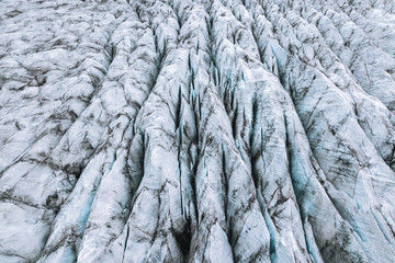 Aerial view of glacier in Iceland
