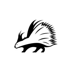 Vector porcupine silhouette view side for retro logos, emblems, badges, labels template vintage design element. Isolated on white background