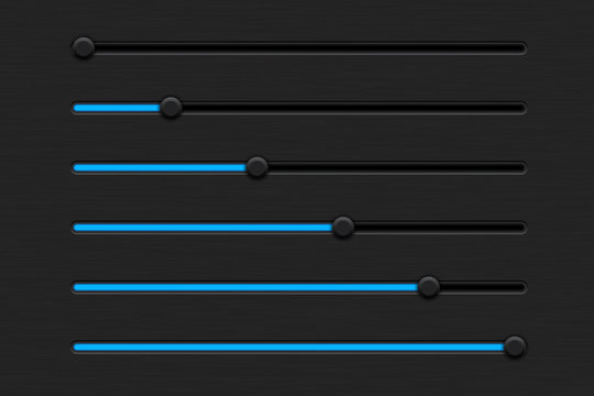 Slider bar. Black interface control panel with blue color