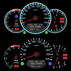 Car dashboard - speedometer, tachometer, fuel and temperature gauges