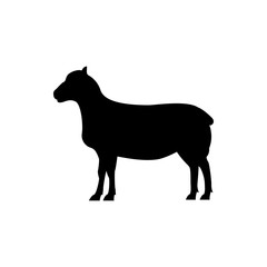 Vector sheep silhouette view side for retro logos, emblems, badges, labels template vintage design element. Isolated on white background