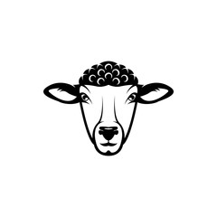 Vector sheep head, face  for retro logos, emblems, badges, labels template and t-shirt vintage design element. Isolated on white background