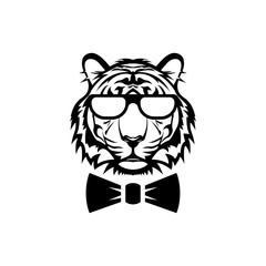 Vector tiger head, face  for retro logos, emblems, badges, labels template and t-shirt vintage design element. Isolated on white background