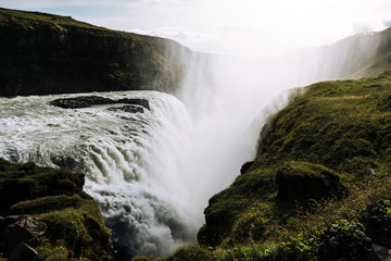 Gullfoss Waterfall in Iceland during a sunny day