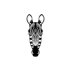 Vector zebra head, face  for retro logos, emblems, badges, labels template and t-shirt vintage design element. Isolated on white background