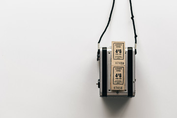 Vintage tickets and camera with copyspace - horiaontal