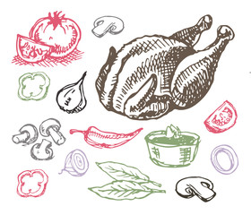Hand drawn doodle food