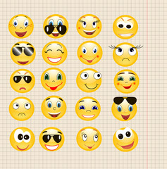 on the background of a sheet of paper smiley yellow, collection
