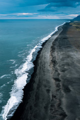 Endless black sand beach in Iceland