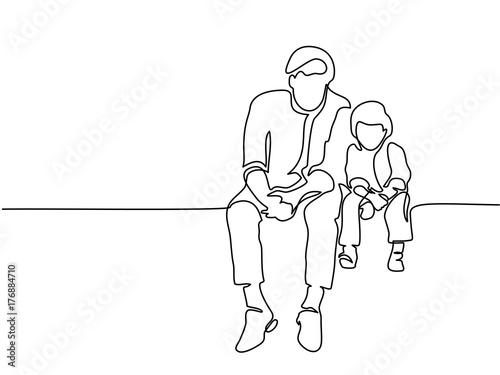 "Libro Para Colorear Madre Hija Ilustraciones Vectoriales Clip: ""Continuous Line Drawing. Father And Son Sitting Together"