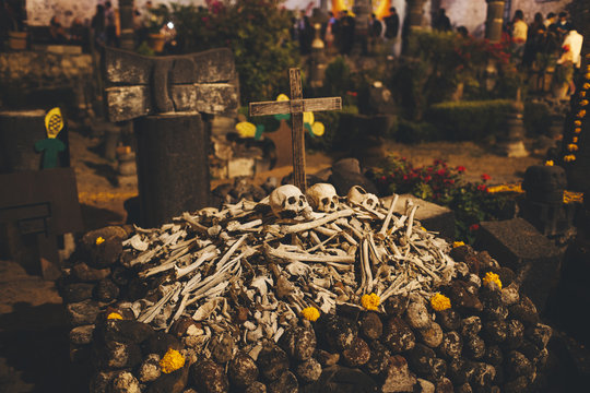 Unidentified pile of skulls and bones for the Mexican Day of the dead ceremony