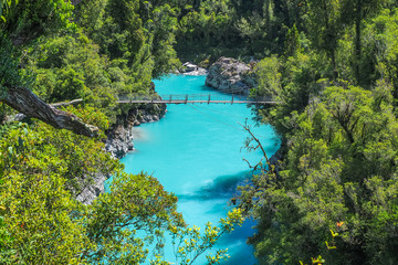 Hokitika Gorge, The vivid turquoise water and swing bridge. (West Coast, New Zealand)
