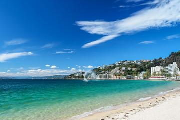 Golden beach at Oriental Bay in Wellington, New Zealand.