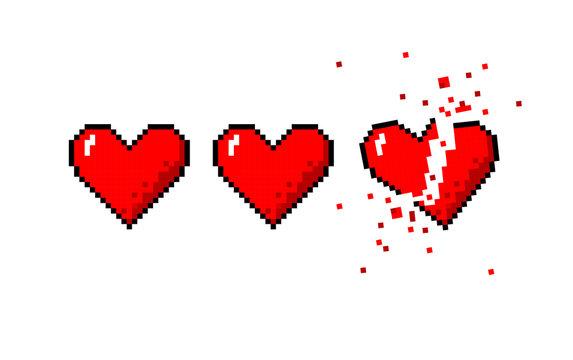 Healthbar of hearts and one broken heart