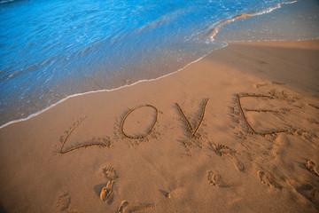 Love sign on beach