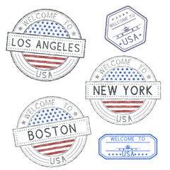Welcome to USA - Boston, New York, Los Angeles. Tourist stamps