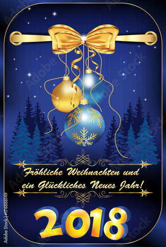 German greeting card for Christmas and New Year 2018. \'Merry ...