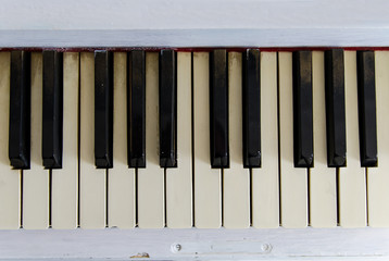 vintage white piano fragment