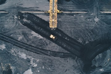 Aerial view of coal mine in Silesia