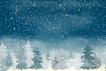 Fotomurales - Seamless horizontal background. christmas landscape with Falling Christmas snow, coniferous forest. Holiday winter landscape for Merry Christmas and Happy New Year. Vector illustration