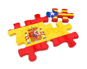 Spain and Catalonia Flags Puzzle Isolated