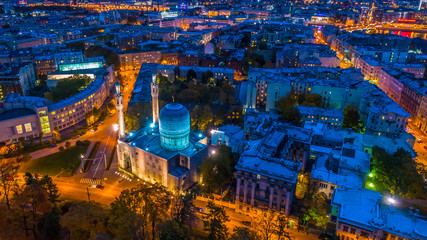 Russia. Night St. Petersburg. Mosque. Petersburg from the heights. Muslim mosque from the air.