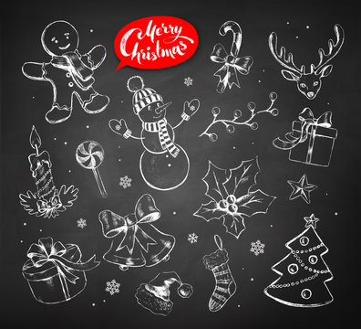 Vector vintage set of chalked Christmas objects