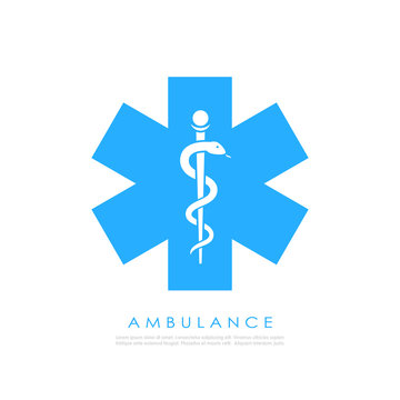 Medical cross with caduceus vector icon