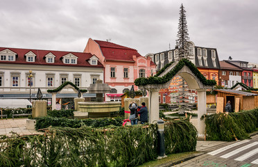 Poprad, Slovakia - November 27, 2016: Town decoration with lights, preparing for Christmas