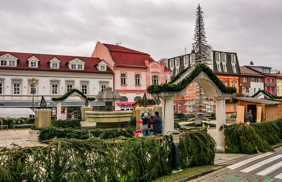 Poprad, Slovakia - November 27, 2016: Town decoration with lights, preparing for Christmas