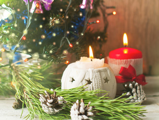 Christmas tree, decor and candles, greeting card, graphic resource