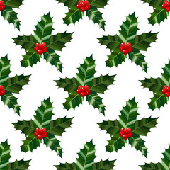 Holly Seamless Pattern. Colorful Christmas Background in Cartoon Style for Banners and Cards. Vector Illustration