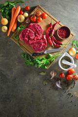 Goulash or beef stew ingredients, overhead view